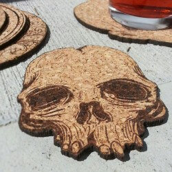 Laser Cut and Engraved Skull Upcycled Cork Coaster